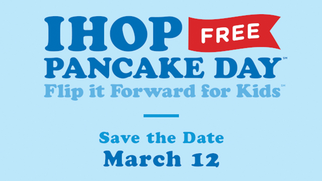 Join IHOP on March 12th, 2019 for a FREE short stack of Original Buttermilk Pancakes and donate to help children battling critical illnesses.